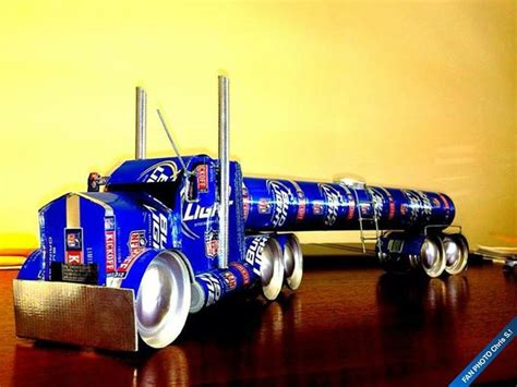 pictures made out of tanker made out of cans trucks