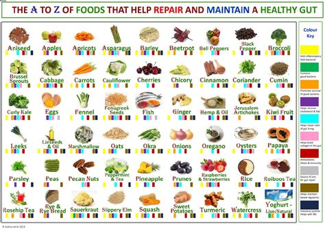 food for a health chart a to z of foods for a healthy gut