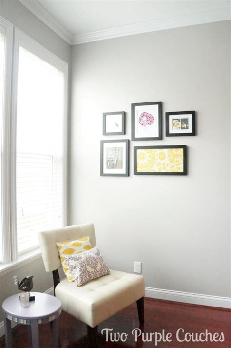 behr paint colors gray purple family room moulding paint reveal two purple couches