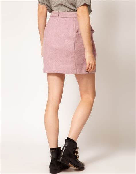 origami mini skirt asos collection asos fluffy origami mini skirt in pink lyst