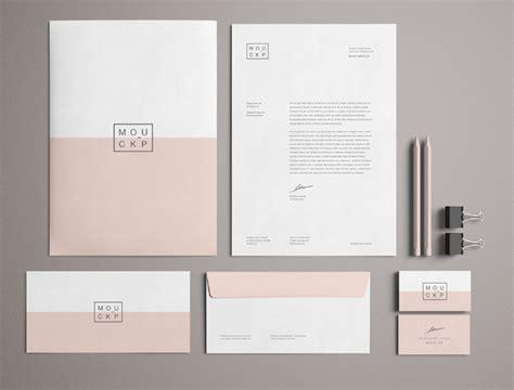 free high solution pink branding stationery mockup psd