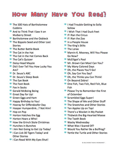 list of picture books dr seuss book lists more than a worksheet
