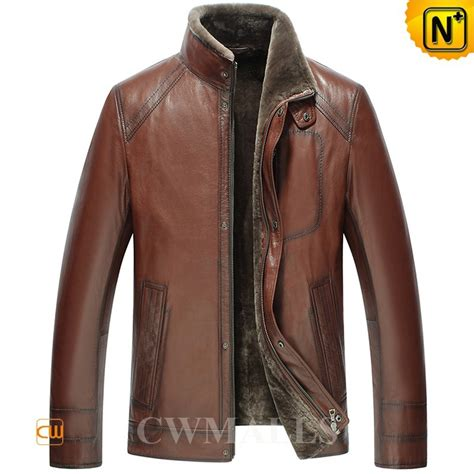 leather and shearling jacket winter brown shearling leather jacket cw858103