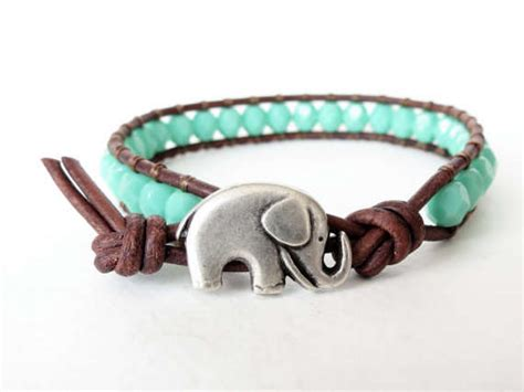 elephant bead bracelet beaded leather twine bangles elephant bracelet