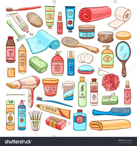 Bath And Body Shower Gel vector hand drawn personal hygiene set stock vector