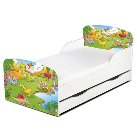 dinosaur toddler bed frame dinosaurs mdf toddler bed with storage deluxe mattress