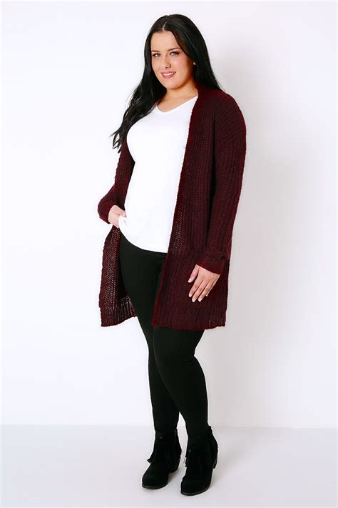 plus size knit with pockets berry longline chunky knit cardigan with pockets plus