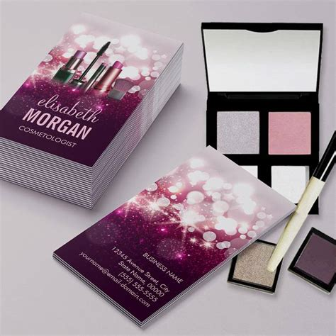 make up business cards makeup artist cosmetician pink glitter pack of