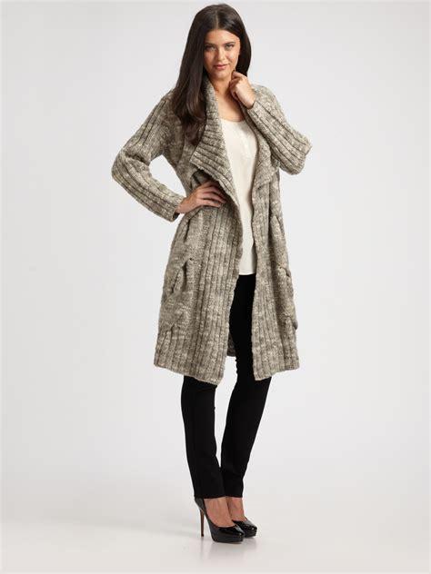 knit sweater coat eileen fisher chunky knit sweater coat in gray lyst
