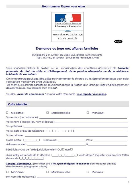 Modification Jugement Jaf by Calam 233 O Imprim 233 Type Formulaire Requ 234 Te Saisine Jaf