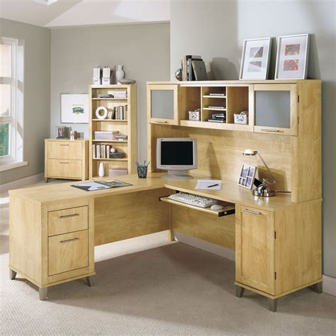 l shaped desk with hutch bush somerset l shaped desk with hutch maple desks at