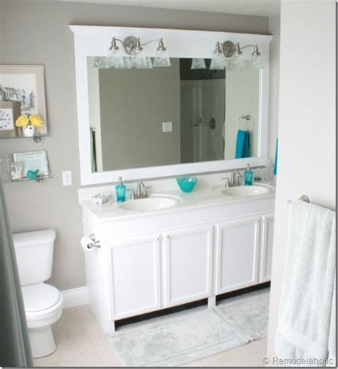 large framed mirror for bathroom remodelaholic how to remove and reuse a large builder