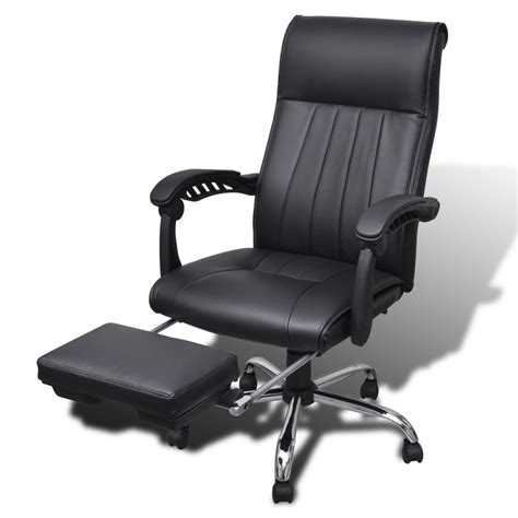 la boutique en ligne fauteuil de bureau noir en simili cuir avec repose pieds r 233 glable vidaxl ch