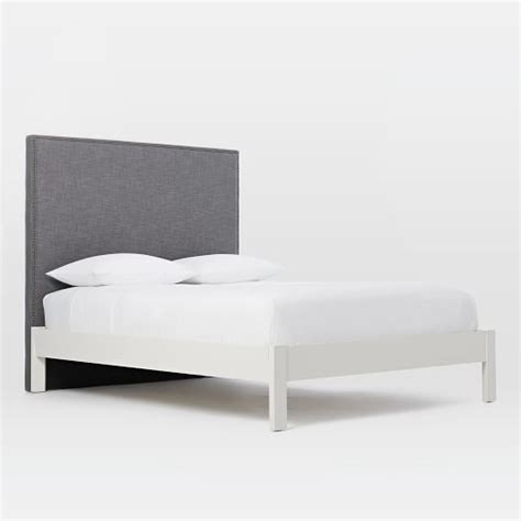 simple white bed frame nailhead headboard steel gray simple bed frame