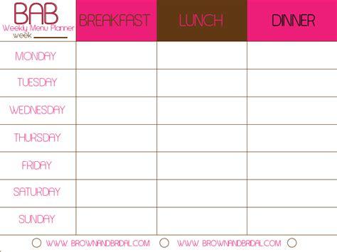 weekly menu template
