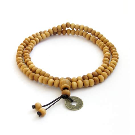 prayer bead necklace wood tibetan buddhist 108 prayer mala