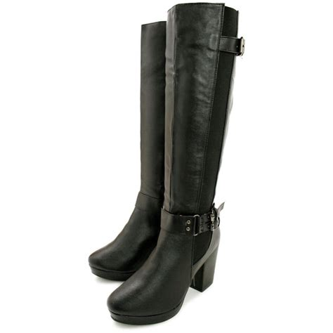 leather knee high boots for buy hana block heel stretch platform knee high boots black leather style