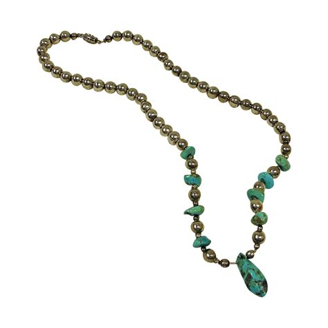 turquoise bead necklace turquoise nugget sterling silver bead necklace vintage