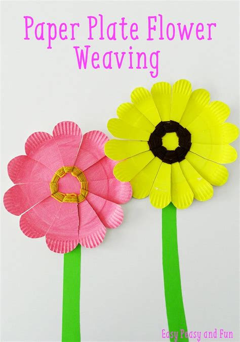 paper plate flower craft paper plate flower weaving easy peasy and