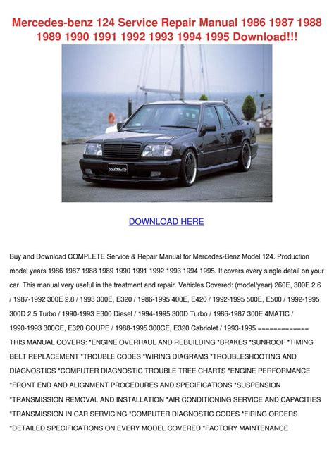service repair manual free download 1989 mercedes benz e class lane departure warning mercedes benz 124 service repair manual 1986 by corneliusburt issuu