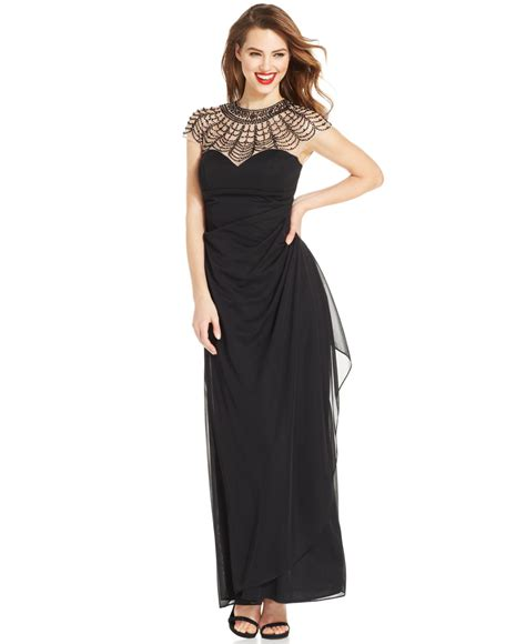 xscape beaded illusion gown xscape beaded illusion yoke draped gown in black lyst