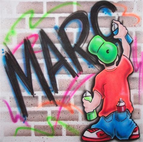 spray painter names airbrushed shirt w character painting graffiti name on