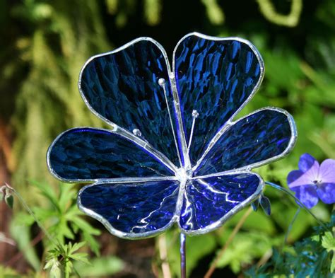 flower garden ornaments stained glass royal blue flower garden ornament