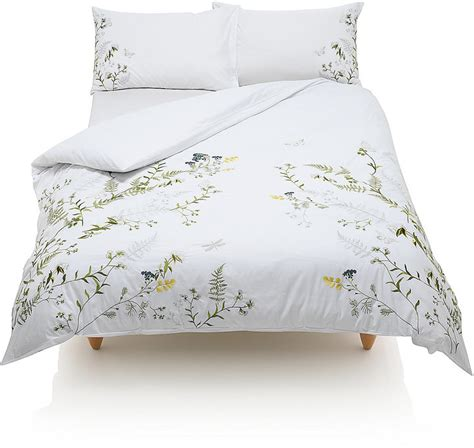 marks and spencer botanical embroidered bedding set