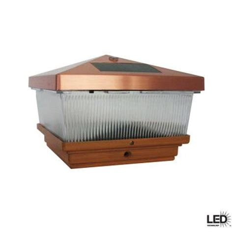 solar outdoor lights home depot hton bay outdoor antique copper led solar post cap