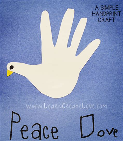 dove craft for handprint dove craft