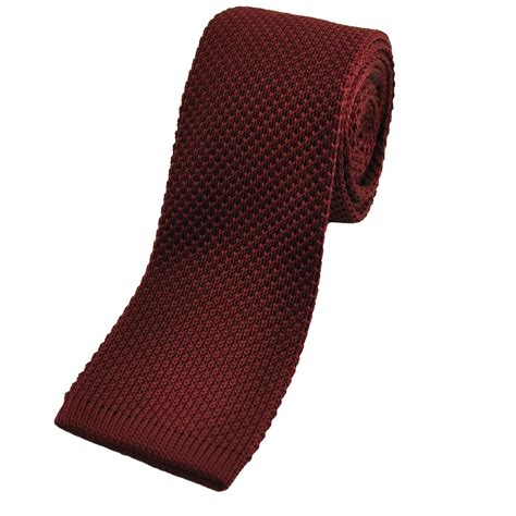knitted ties plain burgundy knitted tie from ties planet uk