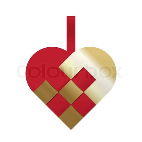 red and gold braided christmas heart stock vector