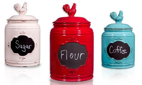 rooster kitchen canisters groupon goods
