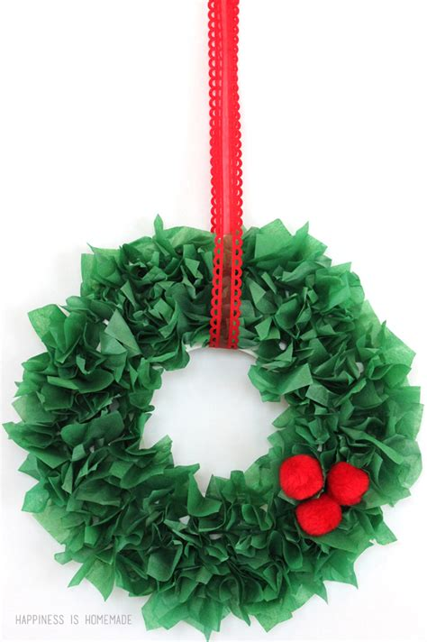 paper wreath craft craft tissue paper wreath happiness is