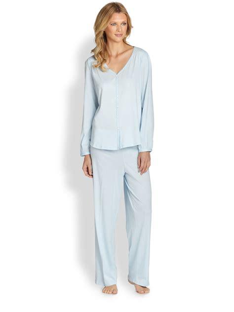 knit pajamas cottonista pima cotton knit pajamas in blue lyst