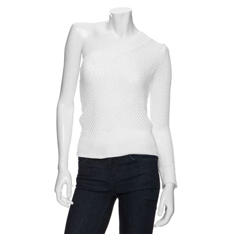 one shoulder knit sweater viktor rolf one shoulder open weave knit sweater in
