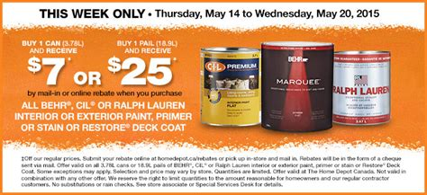 home depot paint rebate form the home depot canada deals save 50 on antiqua 28