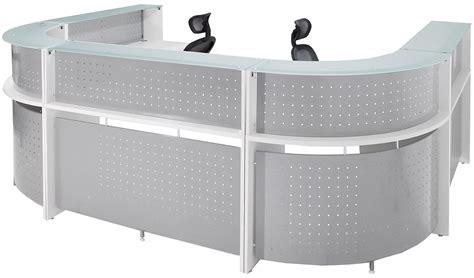 glass u shaped desk white u shaped 2 person glass top reception desk