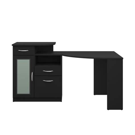 black corner computer desks for home bush vantage corner home office computer desk in black