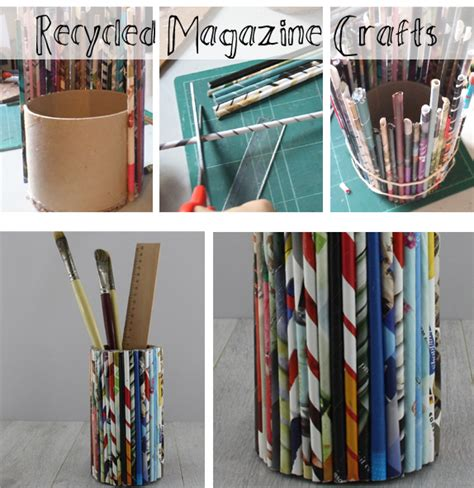 recycled magazine crafts for how to make a recycled magazine pencil holder