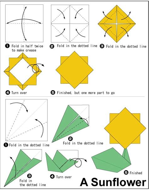 easy to do origami sunflower origami easy to do crafts