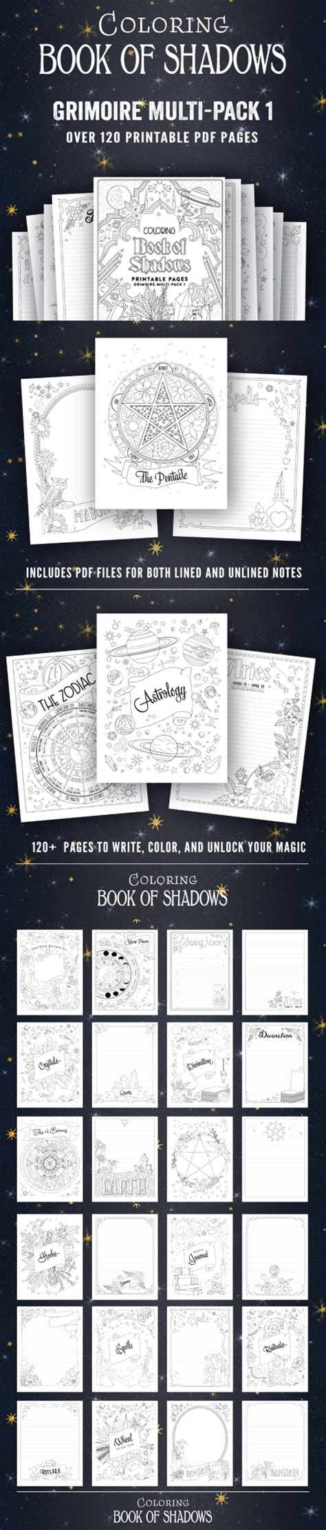 book pdf in printable pages for your book of shadows coloring book