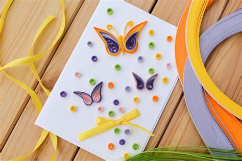 make a e card how to make easy greeting card quilling butterfly step