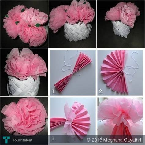 tissue paper arts and crafts for tissue paper flowers crafts meghana gayathri touchtalent
