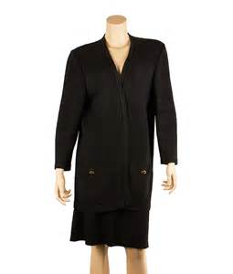 St Black Polyester Knit Skirt Suit L In My Bag
