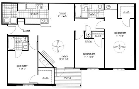 building floor plan three bedroom building plan homes floor plans