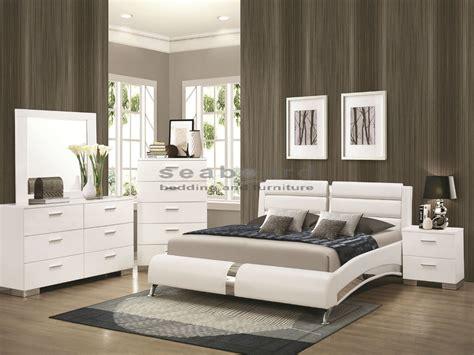 bedroom sets white 300345q felicity white chrome 6pc bedroom set