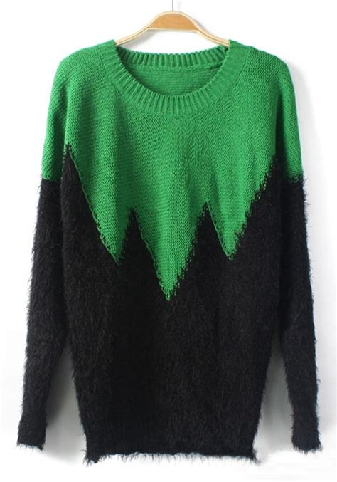 how to block a knit sweater green color block wavy edge knit sweater sweaters tops