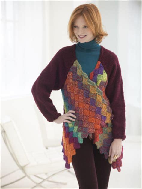 entrelac knitting patterns sweater knitting patterns galore eclectic entrelac cardigan