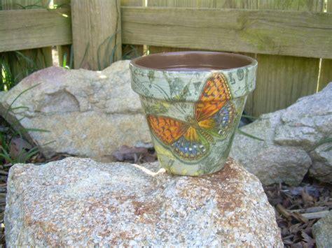 decoupage flower pots handmade decoupage brown clay flower pot butterfly